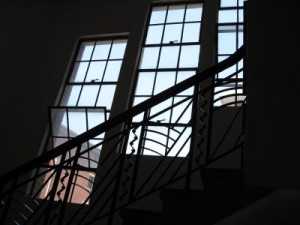 Art Deco windows in the service staircase