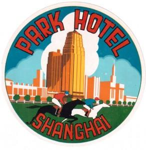Shanghai Park Hotel luggage label