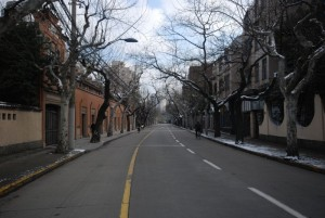 Empty streets and snow