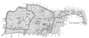 Urbanisation zones in the French Concession